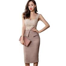 Office Lady  Strapless Patchwork Summer OL Lace Pencil Midi Dress Sexy V Collar Sleeveless Vintage Club Party Dresses