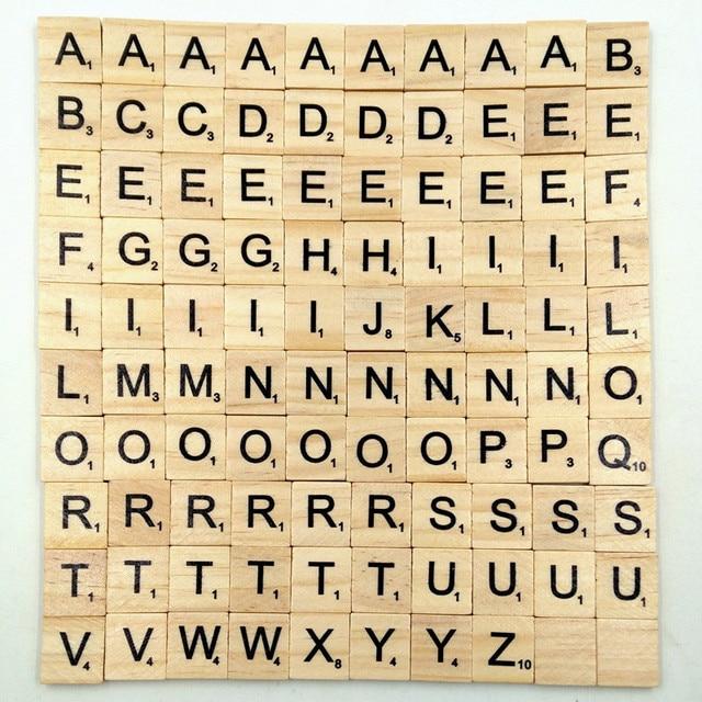 100pcs/set english words wooden letters alphabet tiles black