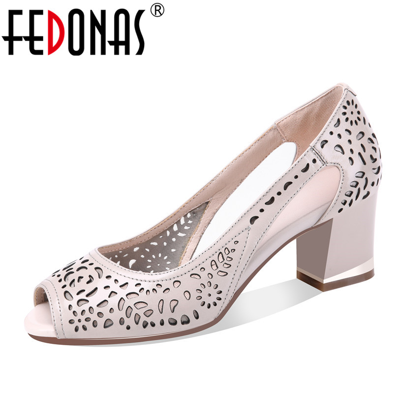 FEDONAS 2018 Women Gladiator Sandals Peep Toe Summer Shoes Thick Heels Sandals Soft Genuine Leather Cut-outs Party Shoes Woman fedonas shoes women thick high heels slingback ankle strap shoes woman genuine leather pointed toe summer sandals women