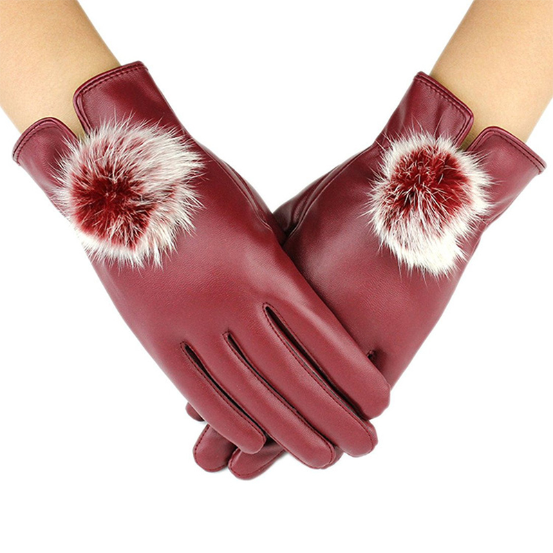Натуральная кожа перчатки Для женщин зимние сенсорными кроличьим мехом перчатки Мода наручные Сенсорный экран Велоспорт Мотоцикл Утеплен...