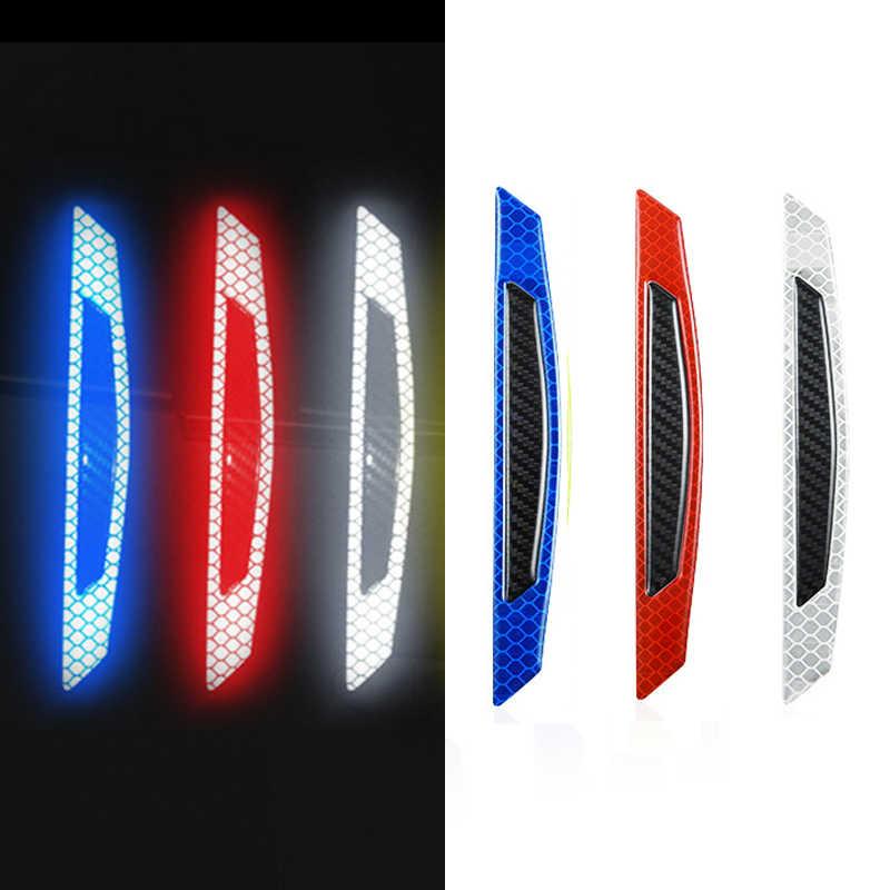 4Pcs 5D Carbon Fiber Car Door Reflective Strip Sticker Warning Mark Protector-/>