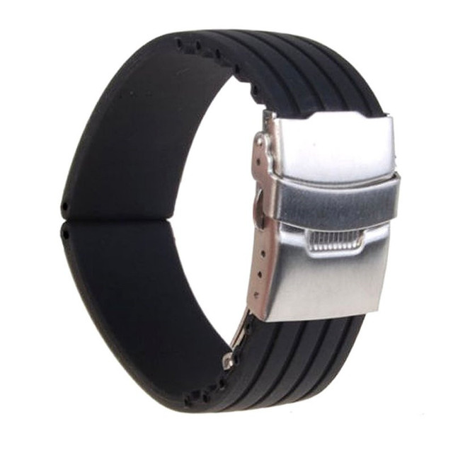 18/ 20/22/24mm reloj hombre Silicone Rubber Watch Strap Deployment Buckle Waterp