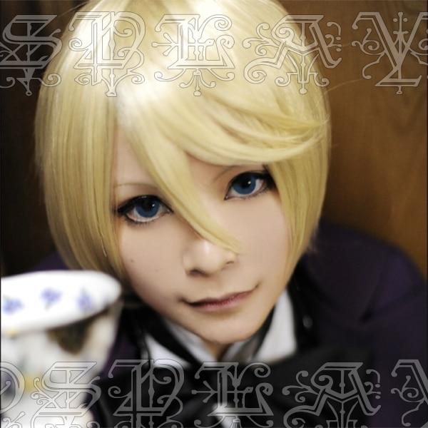 Anime Black Butler Alois Trancy Cosplay Wigs Blonde Short Heat Resistant Synthetic Hair Wig + Wig Cap