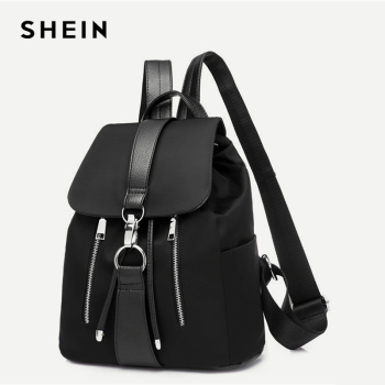 Black Highstreet Modern Lady Metal Ring PU Backpack Fashion Backpacks 1