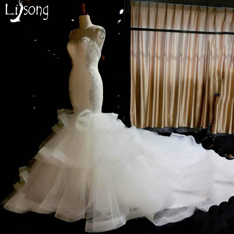 White Mermaid Wedding Dress Sheath Fitted Tiered Ruched Bridal Royal Hemline Formal Dresses