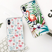 Fashion Popular Pink Flamingo Print Phone Case For iPhone X XS MAX XR Healthy Green Element Printed Back Cover 6 6s 7 8 plus