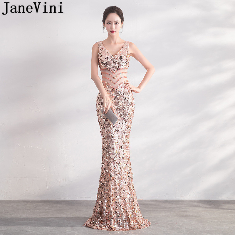 JaneVini Sexy Bling Rose Gold Sequins Bridesmaid Dresses Long Mermaid Shiny Wedding Guest Dress V Neck Sheer Waist Prom Gowns