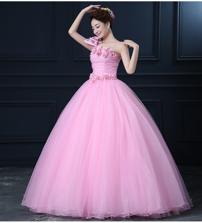 pink flowers bowknot single shoulder medieval dress Renaissance gown Sissi princess Costume Victorian/Marie Belle Ball