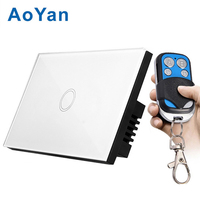 AoYan US Standard Touch Wall Switch White Crystal Glass Panel 1 Gang 1 Way 110 250V