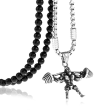 Stainless Steel Weightlifting Workout Fitness Barbell Pendant Necklace with Black Natural Stone Beaded Necklace 27inches stainless steel barbell pendant necklace for men