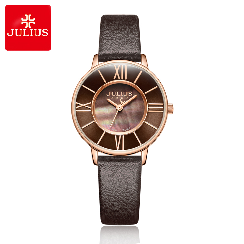 New Lady Women's Watch Shell Fine Fashion Hours Dress Bracelet Simple Leather Classic Girl Birthday Christmas Gift Julius Box new simple cutting glass women s watch japan quartz hours fashion dress stainless steel bracelet birthday girl gift julius box