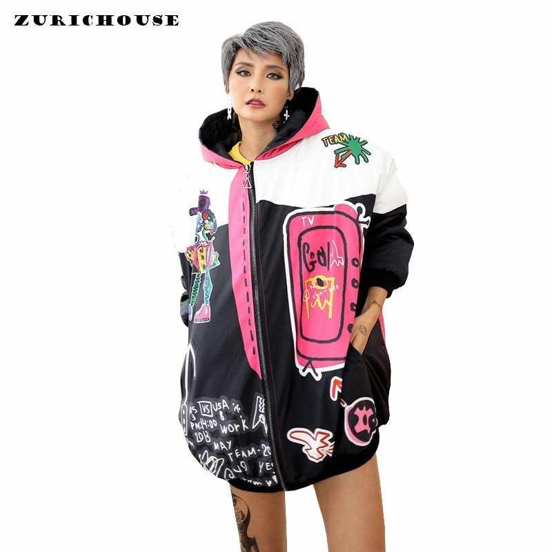 ZURICHOUSE Punk Women's Winter Coat Harajuku Cartoon Print Hooded Plus Size Loose Cotton Padded Jackets Ladies Streetwear Parka