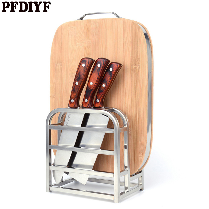 PFDIYF High Quality Stainless Steel Knife Holder Multifunctional Storage Tool Holder Knife Block Knife Stand Kitchen Accessories