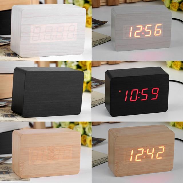 Aliexpress.com: Koop Mini Houten LED Digitale Klok Thermometer Voice ...