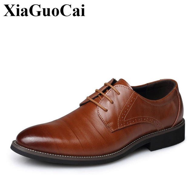 edc65dfcd4 Genuine Leather Pointed Toe Shoes Men Oxford Dress Shoes Office Shoes Simple  Business Flats Lace Up Formal Footwear of Male Soft