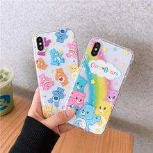 Care bears cartoon case for iphone7 7plus xs max rainbow bear clear soft cover fundas iphone 7 8plus 8 6 6s plus x xr 10