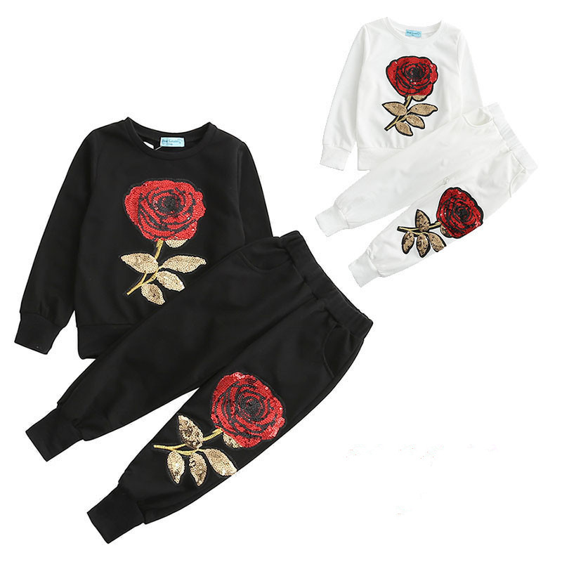 Family Matching Outfits Mother Daughter Clothes Set Sequins Rose Flower Cotton Tracksuit Mommy And Me Sports Suit Tshirt + Pants