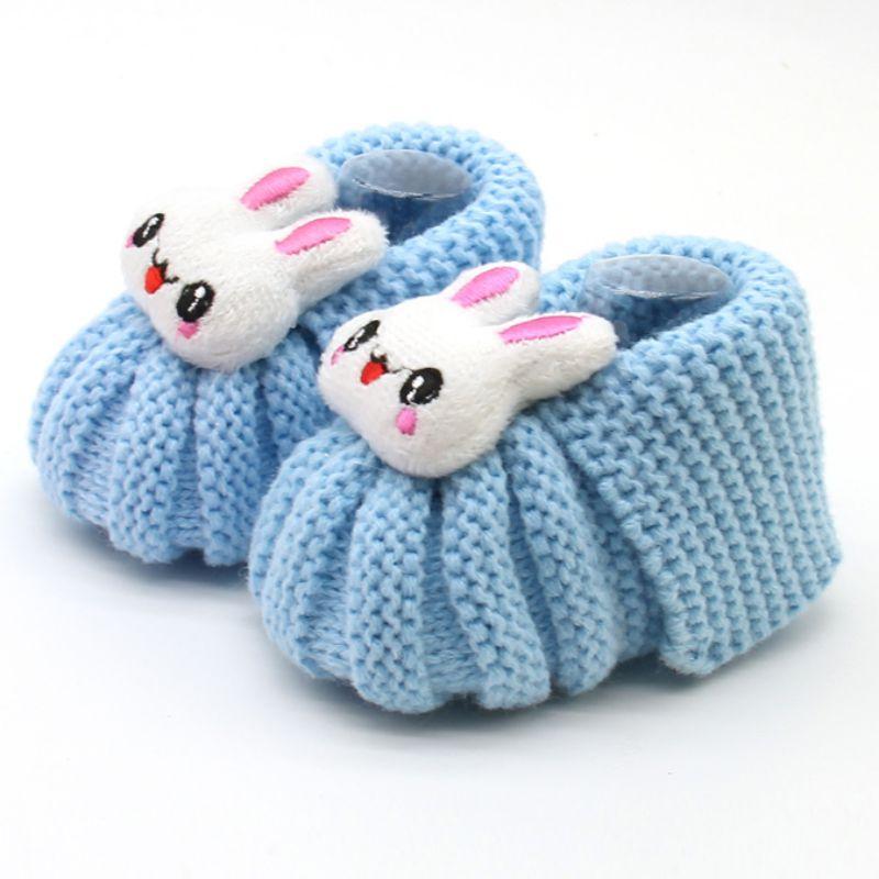 Newborn Infant Baby Toddler Girls Winter Warm Booties Girl Cute Rabbit Snow Crochet Knit Fleece Shoes Baby Walker Crib Boots
