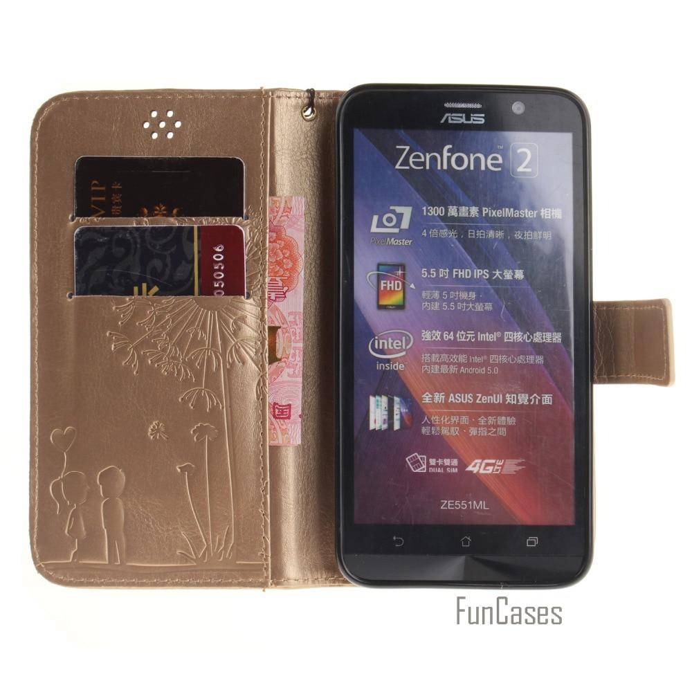 Embossed Case for coque ZenFone 2 5.5 ZE550ML ZE551ML Case for fundas ZenFone 2 ZE550ML ZE551ML 5.5 inch Case Cover +Card Holder