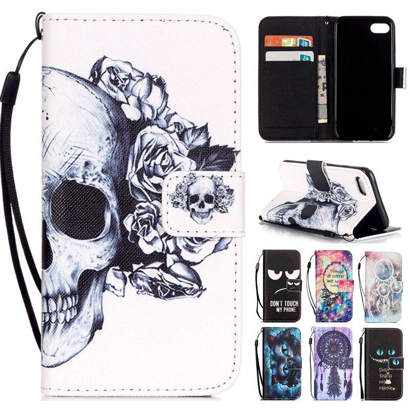 För Iphone 7 7plus Nytt mode Cool Skull Vindklocka Flip Läder - Reservdelar och tillbehör för mobiltelefoner