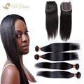 8A barato brasileiro cabelo 4 bundles com lace encerramento não transformados cabelo virgem reta tece com fechamento livre
