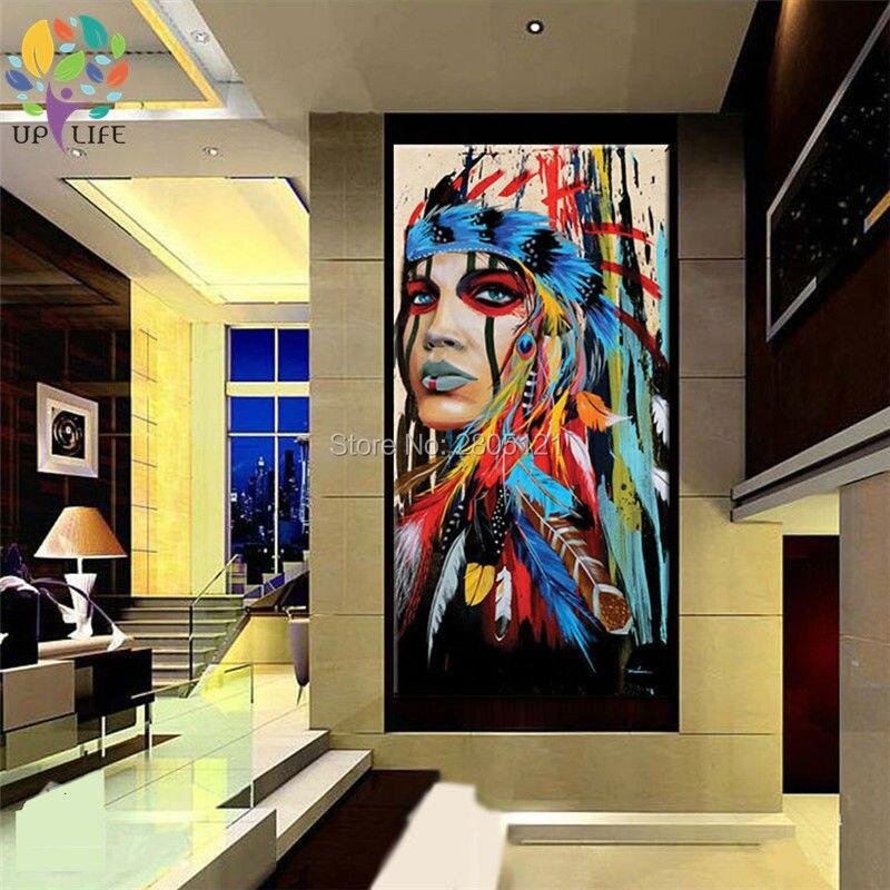 100% pictură în ulei american nativ american idian pictură în - Decoratiune interioara - Fotografie 5