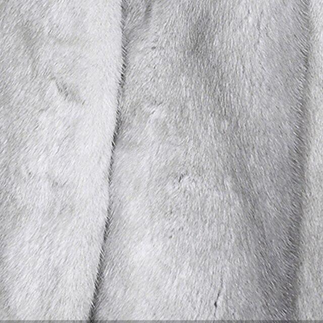 LVCHI veste en cuir fourrure véritable femme, manteaux en vrai fourrure grise saphir chapeau en cuir col en v danemark manteau de vison en velours de cygne