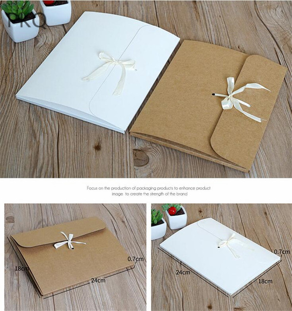 10pcs 24*18*0.7cm Large Postcard Envelope Box High Quality Kraft Paper Gift Envelope With Ribbon Silk Scarf Envelope Packaging