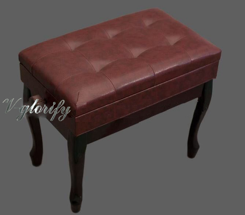 Single piano bench lifted and lowered with box leather piano stool