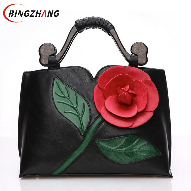 ФОТО 2017 Fashion Flower Design Women Handbag With Round Handle National PU Leather Lady Tote Vintage Luxury Shoulder Bag L4-2253