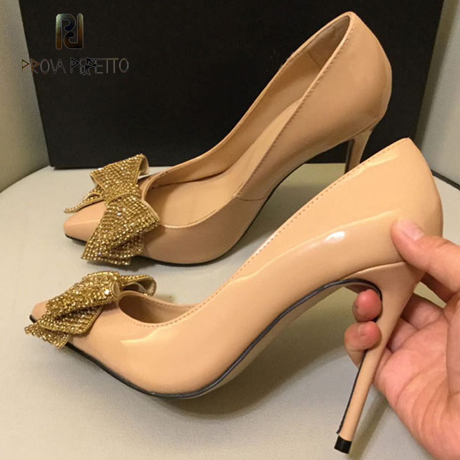 Prova Perfetto 2019 new crystal embellish butterfly knot women pump sexy pointed toe stiletto heel lady party wedding dress shoeProva Perfetto 2019 new crystal embellish butterfly knot women pump sexy pointed toe stiletto heel lady party wedding dress shoe