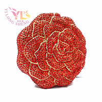 Grade A Quality Factory Wholesale Price Fashion Rose Crystal Clutch Diamond Handbags Clutch Purses Evening Bags