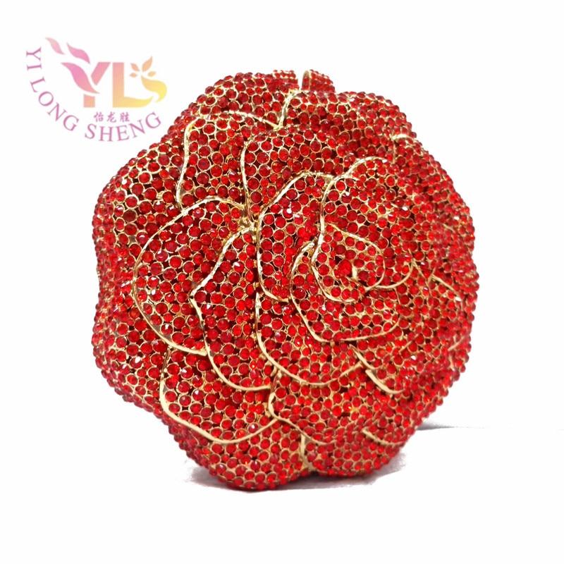 ФОТО Grade A quality Factory Wholesale Price Fashion Rose Crystal Clutch Diamond Handbags Clutch Purses Evening Bags for women