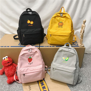 Image 5 - DCIMOR New Fruit embroidery Women Backpack Little fresh Waterproof nylon solid color shoulder bag Girlsschoolbags for teenagers