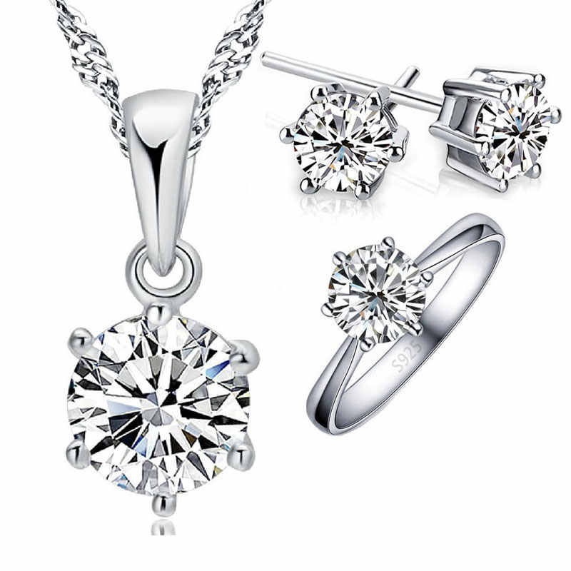 Authentic 925 Sterling Silver Wedding Jewelry for Women Girls Classic Round Shiny Cubic Zirconia Necklace/Earring/Ring
