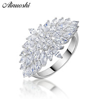 AINUOSHI Exaggrate Flower 925 Sterling Silver Women Wedding Engagement Rings Anniversary Girls Rings Gifts anillos de animales