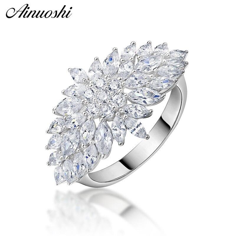 AINUOSHI exaggrille fleur 925 en argent Sterling femmes bagues de fiançailles de mariage anniversaire filles anneaux cadeaux anillos de animales