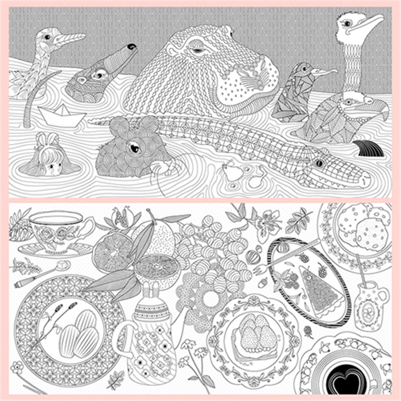 Aliexpress Buy 80 Pages Alice In Wonderland Coloring Books For Adults Children Relieve Stress Painting Drawing Secret Garden Art Colouring Book From