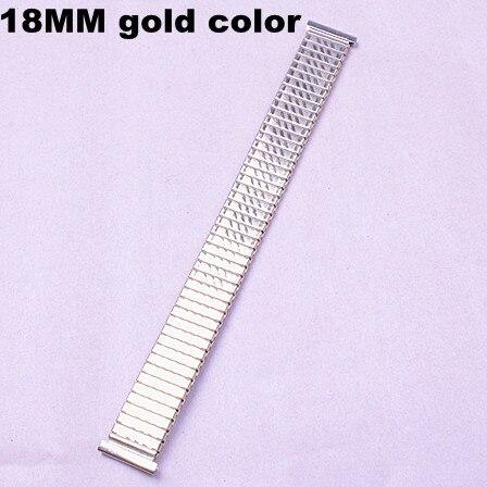 10 шт./лот, высококачественные часы 18 ММ золотого цвета из нержавеющей стали, эластичные часы с ремешком-05137