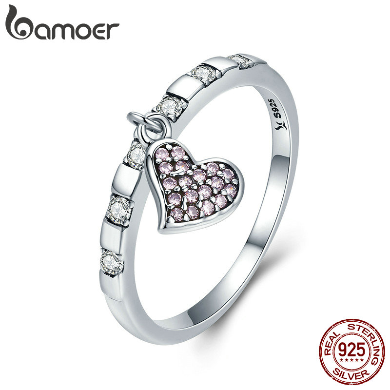 BAMOER 100% 925 Sterling Silver Day Ring Friday True Love Gold Heart Dangle Female Ring for Women Sterling Silver Jewelry SCR270 0 5ct 3 prongs 925 sterling silver ring sona diamant ring female heart gold plated ring love letter engrave ring yd