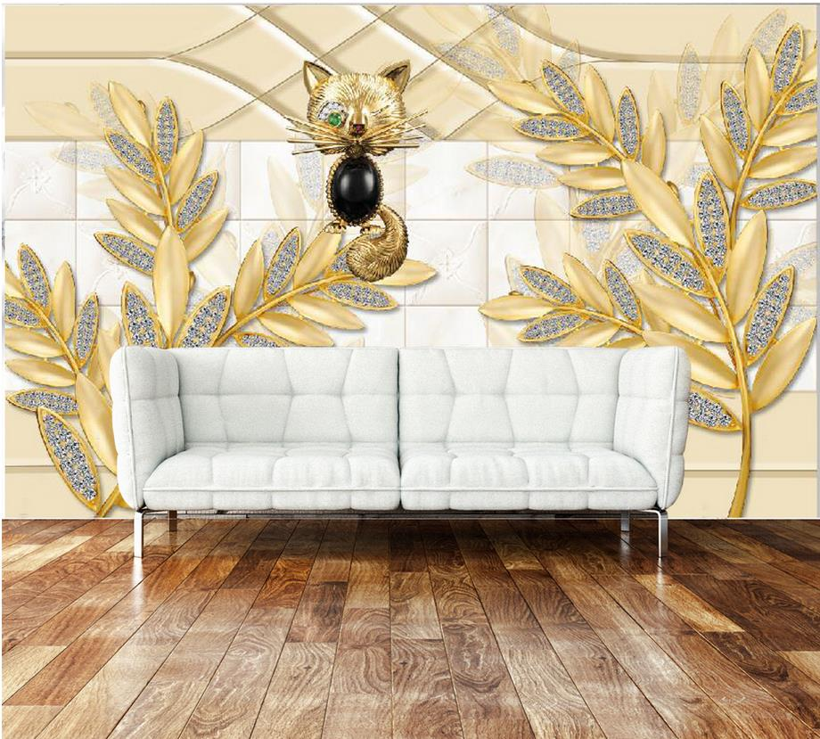3d Wallpaper For Room Jewelry Gold Flower Leaf Modern