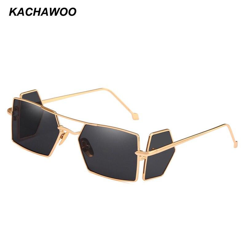 6067e2dd828 Kachawoo side shield sunglasses men gold black metal frame punk square sun  glasses for men summer accessories 2018 UV400-in Sunglasses from Apparel ...