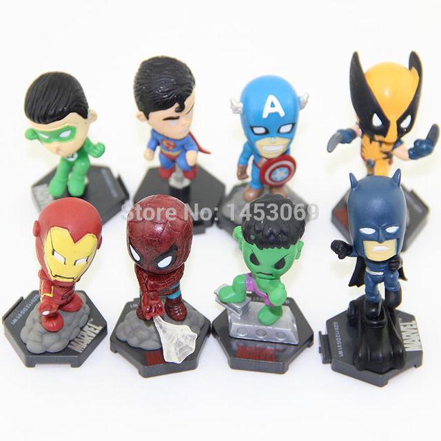 Super-heróis da Marvel Os Vingadores Capitão América Hulk X-men Spiderman PVC Action Figure Toys Dolls 8 pçs/set