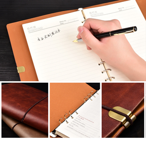 Image 5 - RuiZe vintage B5 notebook cover travel journal diary A5 leather spiral notebook planner 6 ring binder note book agenda 2020