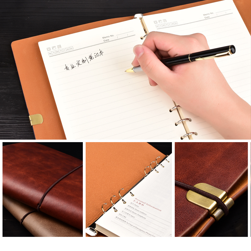 Image 5 - RuiZe vintage notebook cover travel journal diary B5 A5 leather spiral notebook planner 6 ring binder note book stationery-in Notebooks from Office & School Supplies