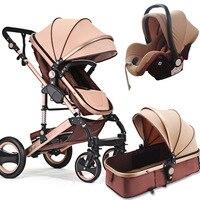 Купон на 10 долларов! 3 в 1 детская коляска с высоким видом, безопасное детское сидение, может лежать в шоковой детской тележке, детской машине.