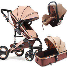 3 in 1 baby stroller high view  with safety car seat Carriage Two-way Newborn trolley Light 2 free shipping