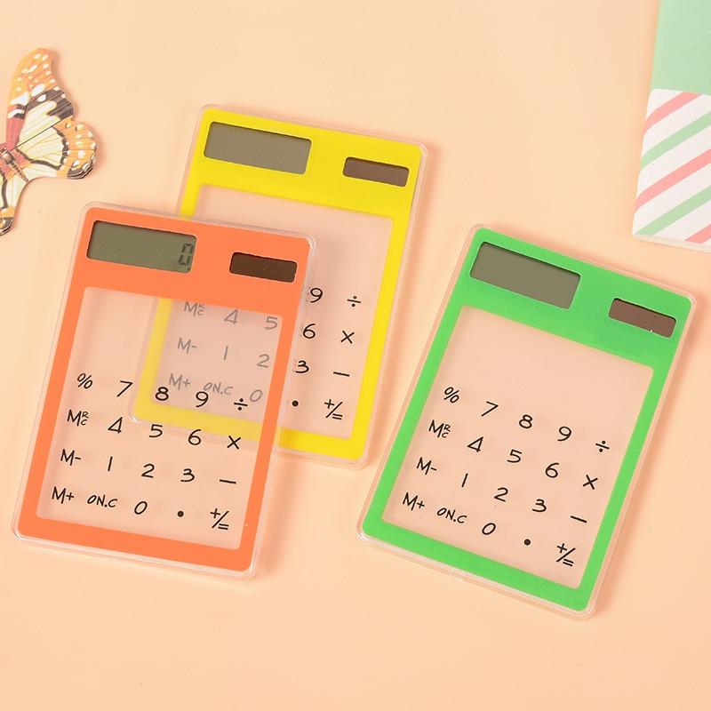 Colorful Small Slim Pocket Calculator Stationery Card Portable Calculator Mini Handheld Ultra thin Card Calculator Solar