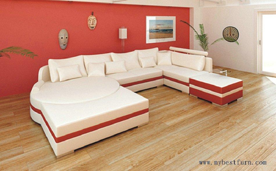 Free Shipping Hot Sale Real Leather Sofa, Modern Sofa, European Sofa Set, U  Shaped Sofa S8567