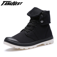 TANGNEST Men Fashion Canvas High-top Military Ankle Boots Comfortable Shoe Martin Boots New Arrival Plus Size 39-45 ,XMF404